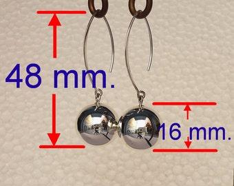 666242ddf Ball Earrings 16 mm , Tiny Ball Earrings, Silver Ball Earrings, Large Ball, Drop  Ball, Bead Ball Earrings, 925 Sterling Silver Earrings