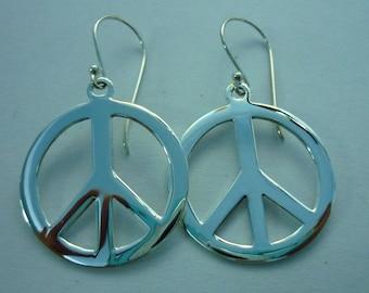 Peace Sign Earrings - Peace Earrings - 925 Sterling Silver Peace Sign Symbol Charm Earrings large 28 mm
