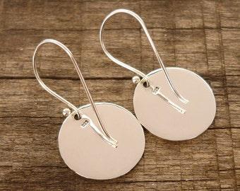 Disc Earrings -  Round Earrings - Silver Eaeeings - Fine Silver Earrings - Circle Earrings -  925 sterling silver Dangle Drop 16 mm