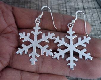 Snowflake Earrings - Winter Earrings - Silver Earrings - Christmas Earrings - Christmas Gift -  925 Sterling Silver Dangle Earrings Fashion