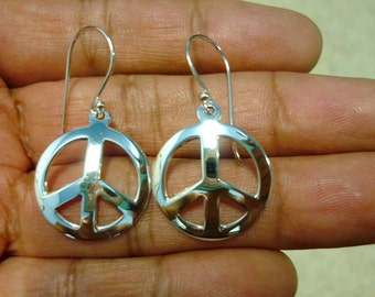 "Peace Sign Earrings - Peace Earrings - 925 Sterling Silver Peace Sign Symbol Charm Earrings 7/8"""