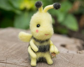 Made to order needle felted honey bee. Wool art insects. Gift for honey bee lover. Animal home decor.