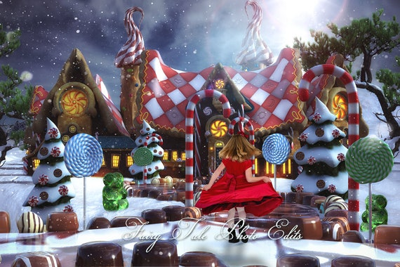 Christmas Gingerbread House Background.Gingerbread Land Digital Backdrop Christmas Backdrop Christmas Gingerbread House