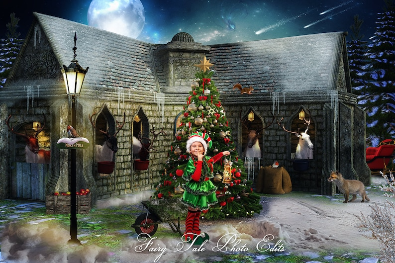 Christmas Stable Background.Santa S Stable Digital Backdrop Santa Backdrop Christmas Backdrop Santa Christmas Reindeer Photography Backdrop