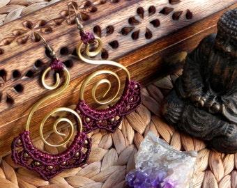 Macrame Boho Spiral Brass Earrings 'TATINI'. Bohemian Gypsy Hippie Tribal Jewelry Big Brass Wire Earrings Goa Beach Wedding Festival Jewelry