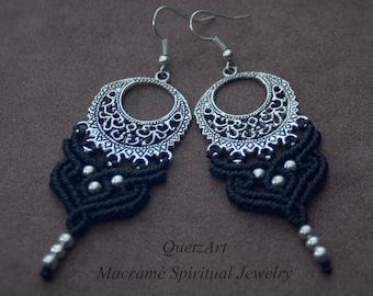 Black Macrame Bohemian Earrings 'ANANDA' Boho Tribal Gypsy Ethnic Antique Brass Silver Earrings Spiritual Jewelry. Belly Dance Elven Earring