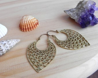 Brass Earrings. Boho Earrings. Tribal Ethnic Jewelry Handmade. Bohemian Gypsy Earrings. Rave Festival Jewelry. Fantasy Pixie Elven Earrings