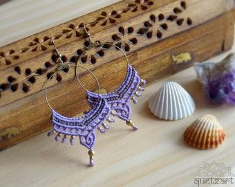Macrame Boho Hoop Brass Earrings 'SURYA'. Rustic Bohemian Tribal Hippie Boho Chic Festival jewelry. Bellydance Earrings. Goa Beach Wedding