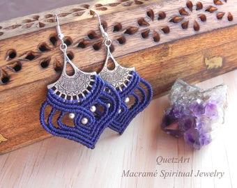 Macrame Boho Earrings 'KARUNYA'. Bohemian Tribal Earrings. Bellydance Ethnic Hindu Earrings. Hippie Chic Alternative Trance Festival Fashion