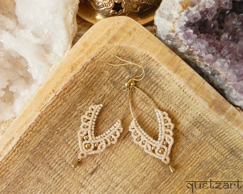 2a320f1671e2d Beige Boho Wedding Earrings 'RATI', Ivory Cream Ecru Nude Earring, Bohemian  Artisan Jewelry, Bridesmaids Earrings Bridal Gift Bohemian Bride
