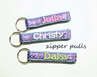 """Personalized Zipper Pulls, Mermaid, Coat/Jacket/Bookbag/Lunch Box IDTags, Made to Order, 3/8"""""""