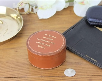Vintage Cufflink Box/Leather Stud Box/Leather Trinket Box/Leather Box for Earings/SALE (ref1961C)