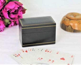 Vintage Playing Card Box/Leather Playing Card Box/Playing Card Set/Waddingtons Cards (Ref1981C)