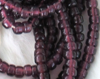 Amethyst Glass Crow Bead, Translucent 9 mm, strand of 100 Beads,  Roller Beads, Pony Beads, Large Spacer Beads