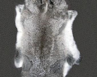Light Grey Rabbit Fur Pelt, Genuine Rabbit Fur, Ethically sourced natural fur hide