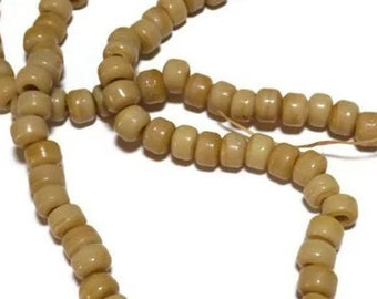 Army Tan Beads Roller Beads strand of 100 Pony Beads 9 mm Glass Crow Beads
