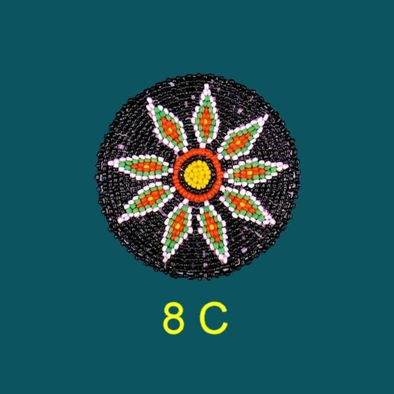 Beaded Patch Emblem Rosette with Starburst Design