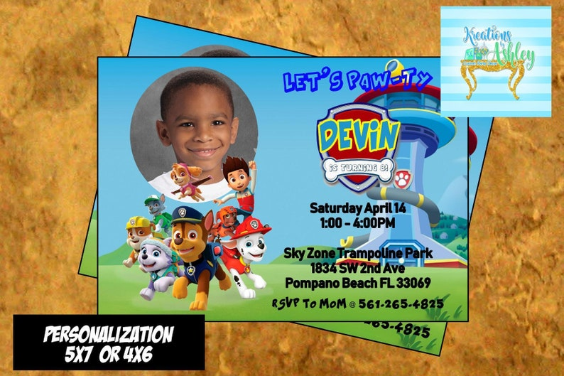 Paw Patrol Invitation Birthday Personalized BIrthday Party FREE FAVOR TAGS
