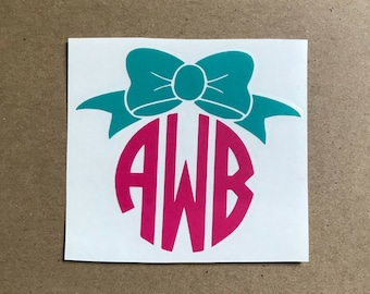 Circle Bow Monogram Decal | Monogram Sticker | Bow Decal | Car Decal | Laptop Decal | Two Color Monogram | Personalized Decal