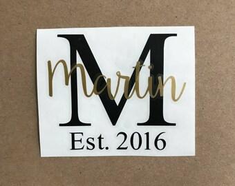 Last Name Decal | Monogram Sticker | Established Decal | Name Sticker | Car Decal | Laptop Decal | Initial Decal | Tumbler Decal