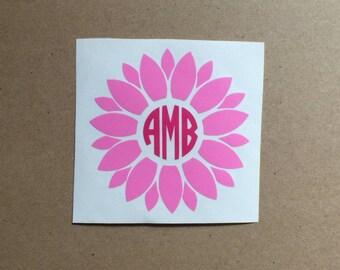 Flower Monogram Decal   Flower Decal   Monogram Sticker   Circle Monogram   Tumbler Decal   Car Decal   Laptop Decal  