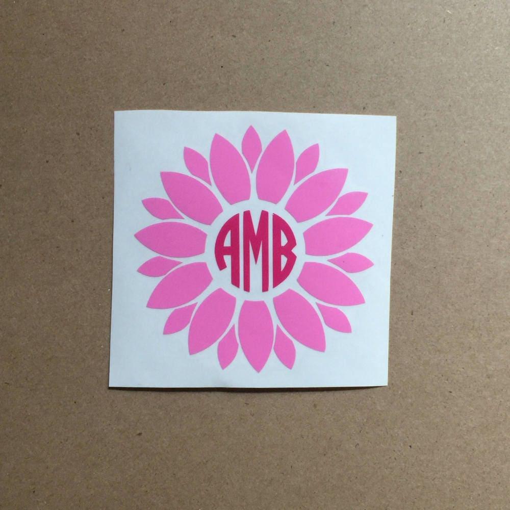 Shop Floral Monograms At Littlebrownnest Etsy Com: Flower Monogram Decal Flower Decal Monogram Sticker