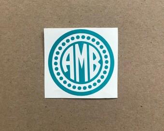 Monogram Decal | Circle Monogram | Dot Monogram Decal | Laptop Decal | Phone Decal | Car Decal | Personalized Decal | Tumbler Decal