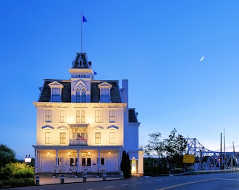 Night at the Opera, Goodspeed Opera House, East Haddam, Connecticut, night photography, moon, blue hour, New England, archival print, signed