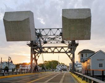 Sunrise at Mystic River bascule bridge, drawbridge, Mystic, CT, Connecticut, river, morning, bridge, ct photos, archival print, signed