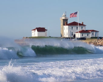 High surf at Watch Hill Light, Westerly, RI, Rhode Island, lighthouses, New England, ocean, waves, seascapes, coast, archival print, signed
