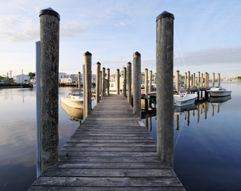 Early morning, dock view on Mystic River, Mystic, Connecticut, CT shore, river, boats, reflections, New England, archival print, signed