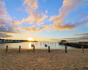 Sunrise beauty at West Wharf Beach, Madison, Connecticut, beach photography, coast, shore, landscape, seascape, archival print, singed