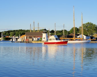 Mystic Seaport, view across Mystic River, golden hour beauty, Connecticut, lighthouses, boat, tall ships, reflection, archival print, signed