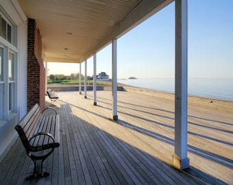 The Surf Club, Madison, Connecticut, shore, East Coast, beach, morning, golden hour, New England, Long Island Sound, archival print, signed