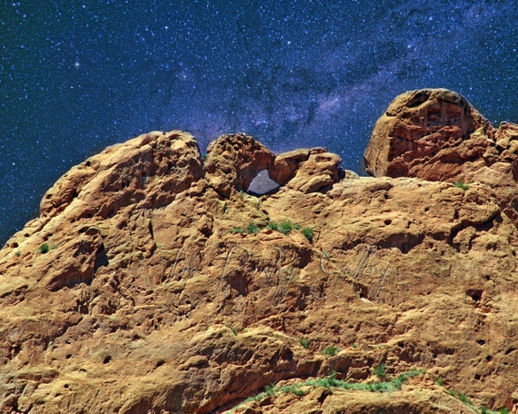 Starry Night At Kissing Camels Garden Of The Gods Colorado Springs Co Wall Art Home Decor Night Photo Western Archival Print Signed