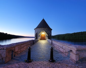 Blue hour at Saville Dam, Barkhamstead, Litchfield County, Connecticut, old buildings, night photo, reservoir, moody, archival print, signed