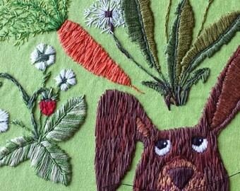 Rabbit Dreams - a PDF embroidery pattern, embroidery hoop art, rabbit, dandelion, carrot, strawberry, digital download