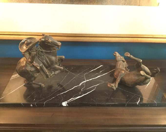 Mid century monumental Bronze and Marble Cowboy Rodeo Sculpture