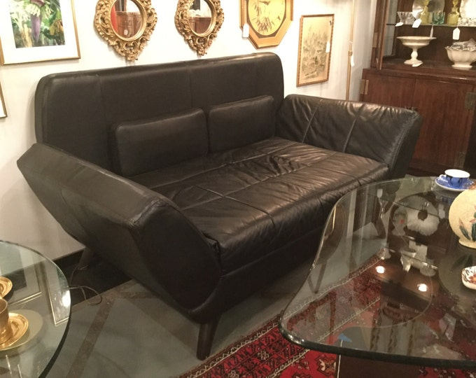 SOLD:Ca. 70s Nicoletti Black Full Hide Italian Leather Sofa with Movable arms