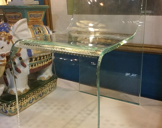 Ca. 1980s Fiam Italy Inch Thick Glass Ghost Sculptural Chair