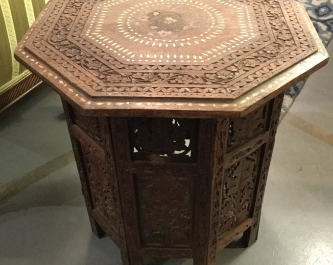 SOLD: Hand-Carved Morrocan Solid Teakwood Octagonal Table