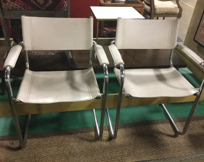 SOLD:Ca. 1970s Chrome and Cream Leather by Mart Stam Italy