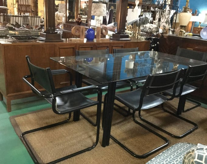 Italian by Mart Stam Black Powder Coated Base Dining Set with Six Leather Chairs 2 Arms 4 Side Chairs Glass Top
