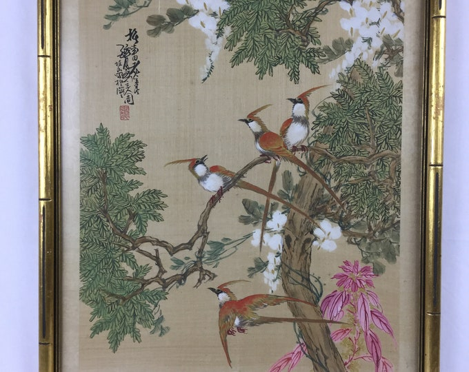 EXCLUSIVE: Ca. 1890-1930s Marked with Artist Seal Handpainted Birds on Silk