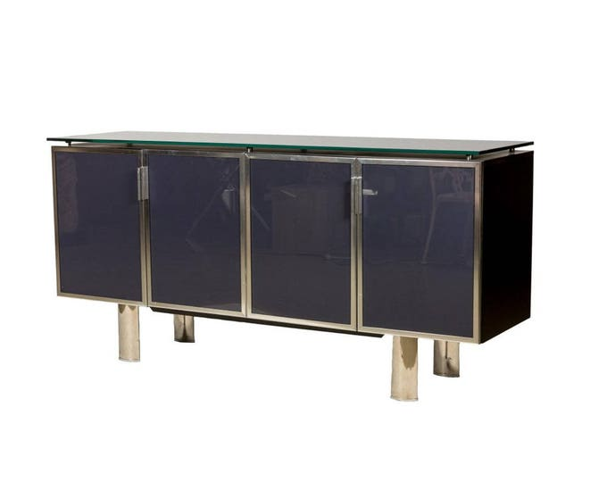 Ca. 1970s Black Smoked Mirror and Midnight Blue Smoked Mirror Cabinet Doors Chrome Legs and Surround ITALY