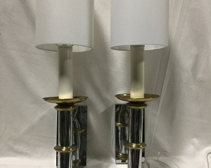Pair of Ca. 1970s Chrome and Brass Wall Sconces or Bedside Sconces by Forecast Lighting