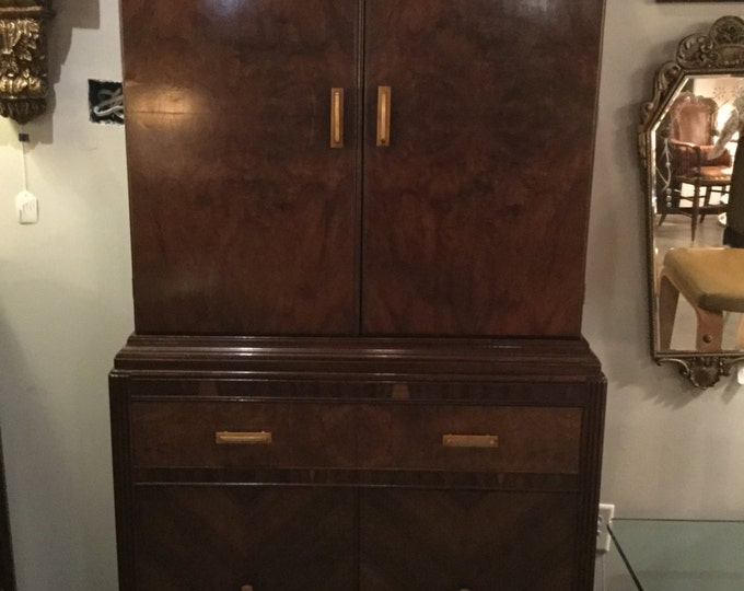 Ca 1930s Maccassar and Burled Walnut chest on chest With Original Bakelite and brass handles