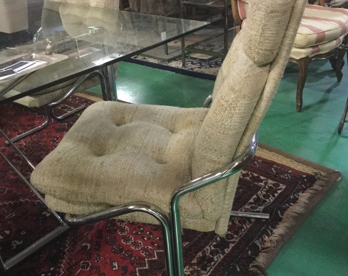 SOLD: Milo Baughman Style Upholstered Set of 4 Chrome Chairs