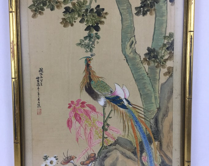 EXCLUSIVE: Ca.1890-1930s Marked with Artist Seal Handpainted Birds on Silk