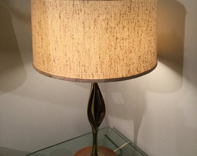 Ca.1950s Hollywood Regency Brass and Wood base Pair of Lamps